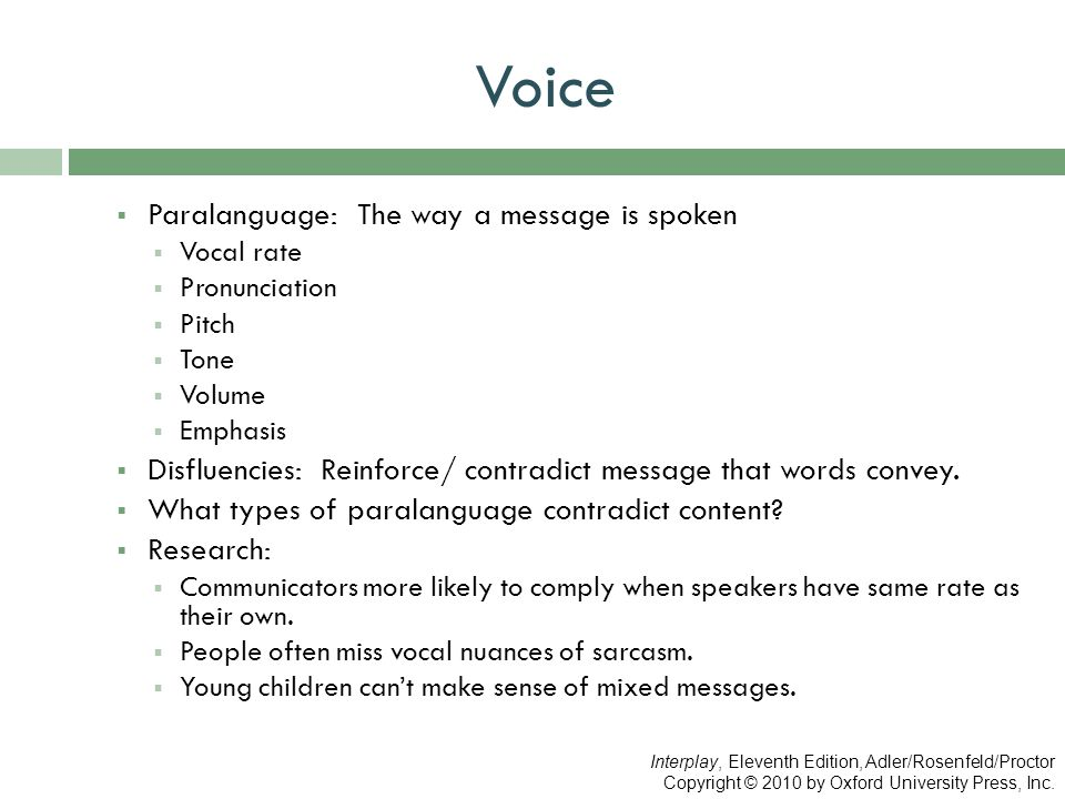 Voice Paralanguage: The way a message is spoken