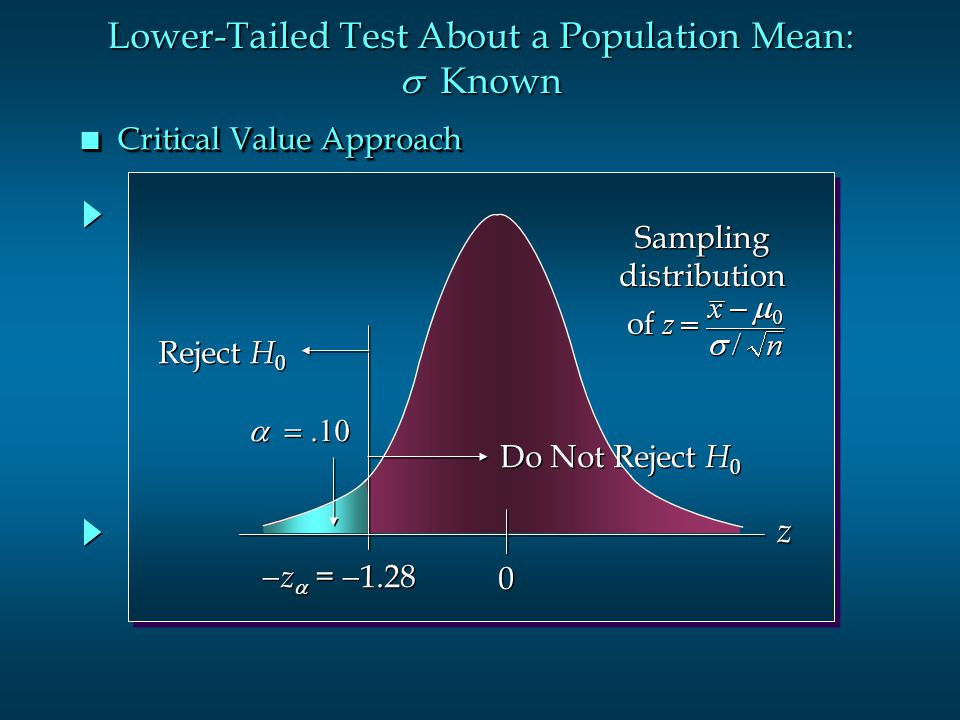 Lower-Tailed Test About a Population Mean: