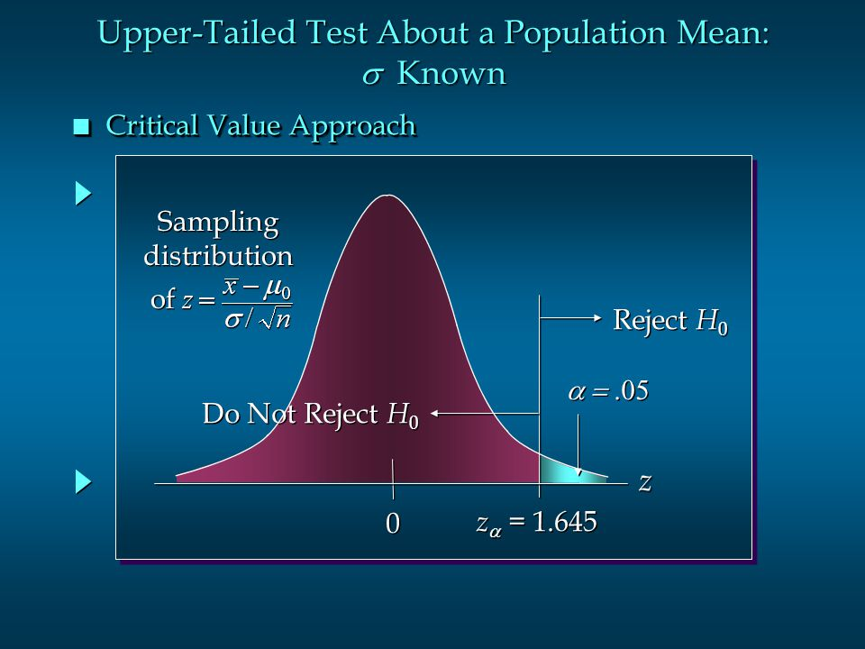 Upper-Tailed Test About a Population Mean: