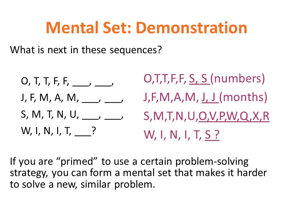 Mental Set: Demonstration