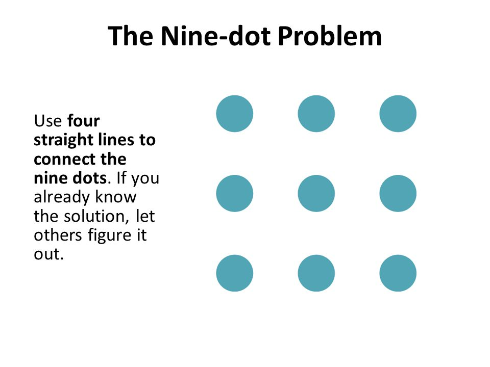 The Nine-dot Problem Use four straight lines to connect the nine dots. If you already know the solution, let others figure it out.