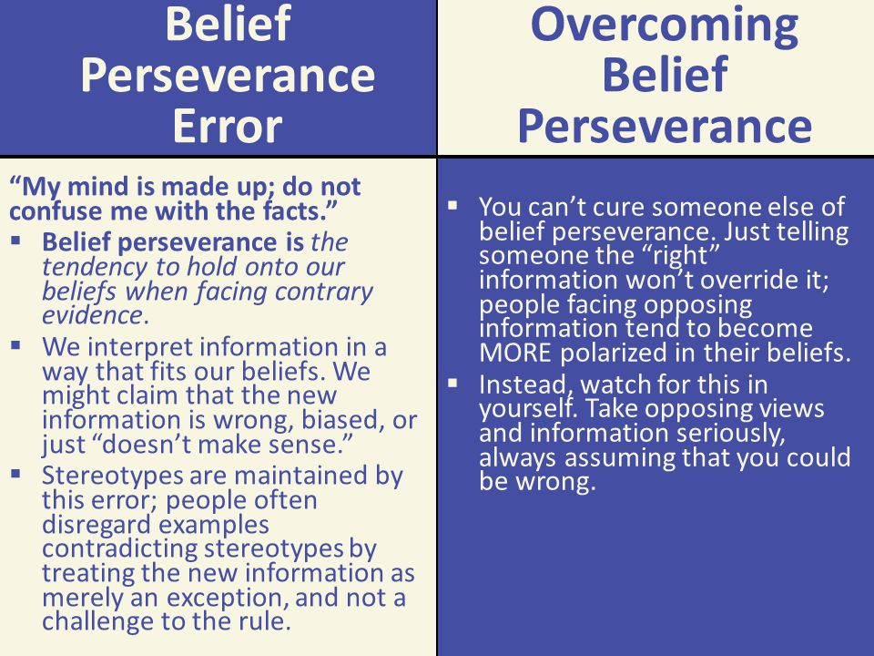 how to use belief perseverance in a sentence