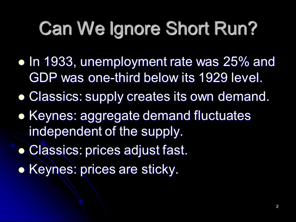 Can We Ignore Short Run In 1933, unemployment rate was 25% and GDP was one-third below its 1929 level.