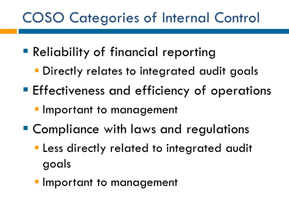 COSO Categories of Internal Control