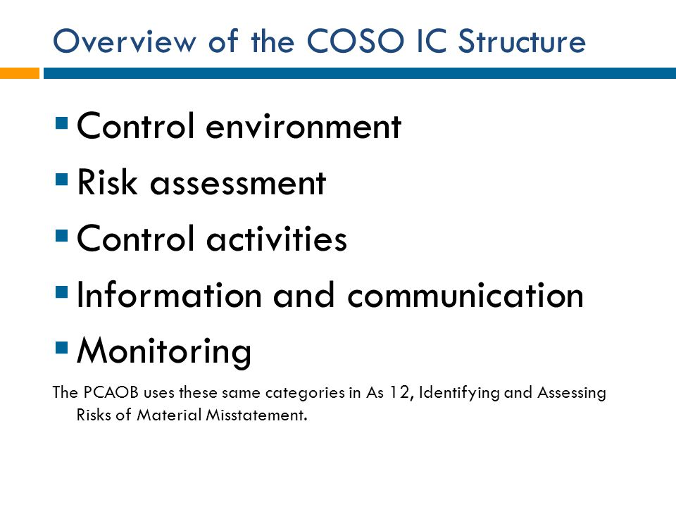 Overview of the COSO IC Structure