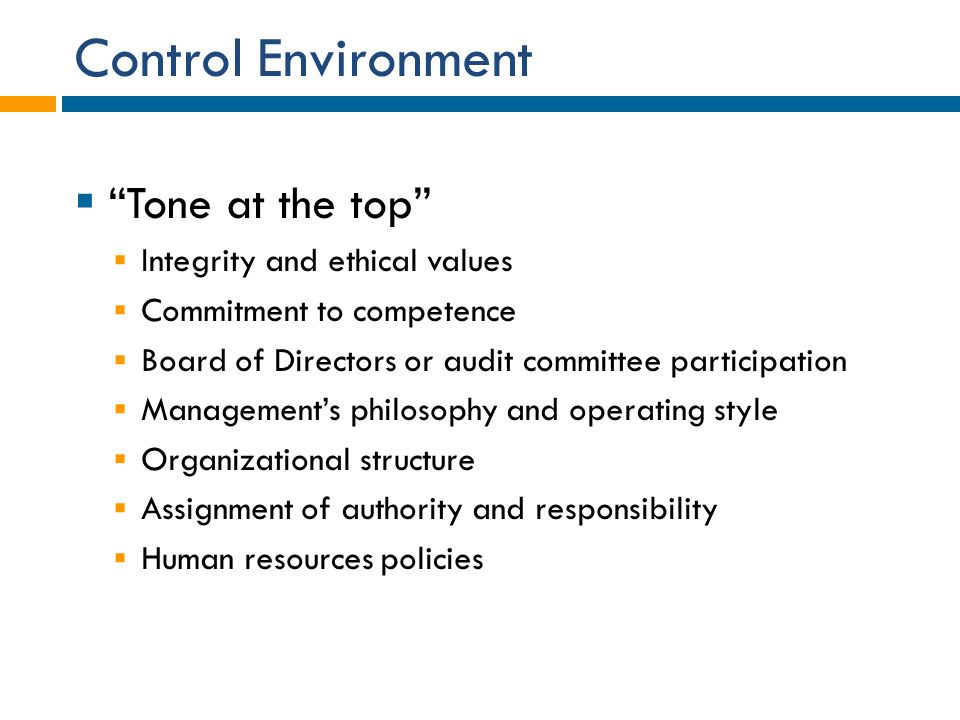 Control Environment Tone at the top Integrity and ethical values