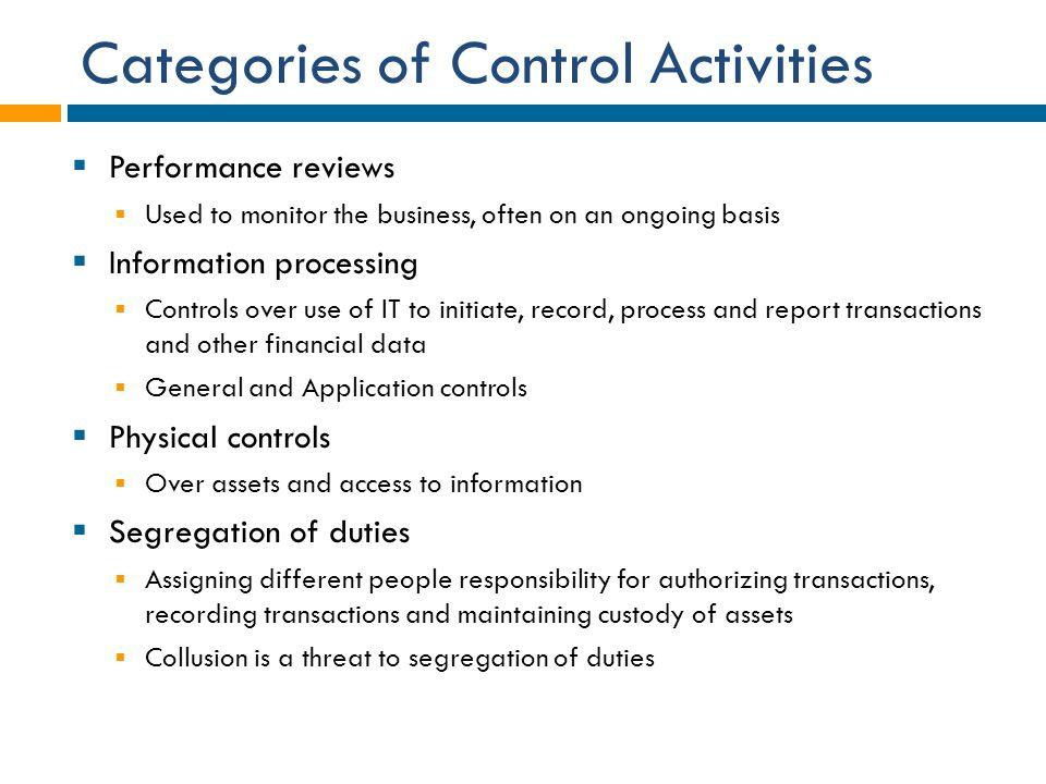 Categories of Control Activities