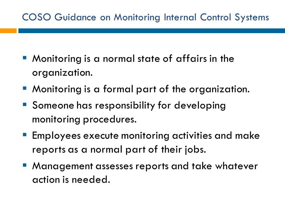 COSO Guidance on Monitoring Internal Control Systems