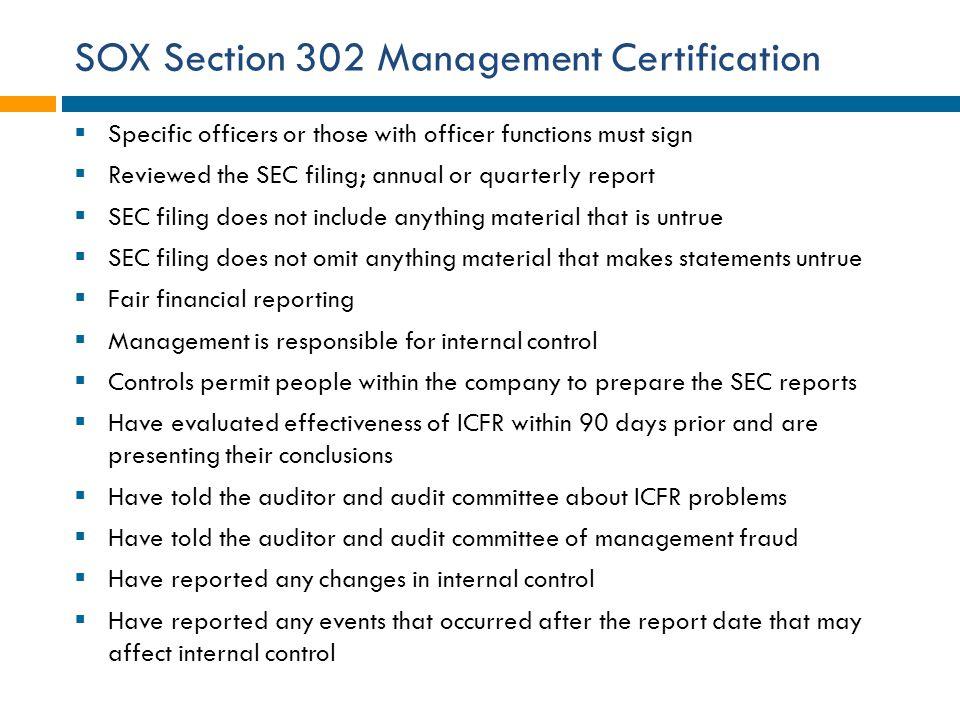 SOX Section 302 Management Certification
