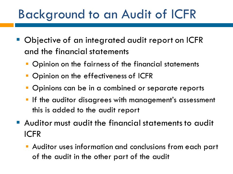Background to an Audit of ICFR