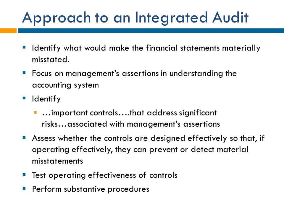 Approach to an Integrated Audit