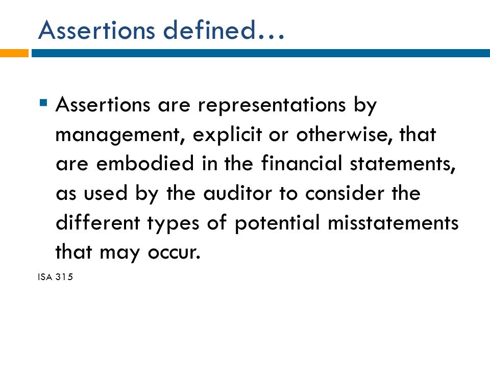 Assertions defined…