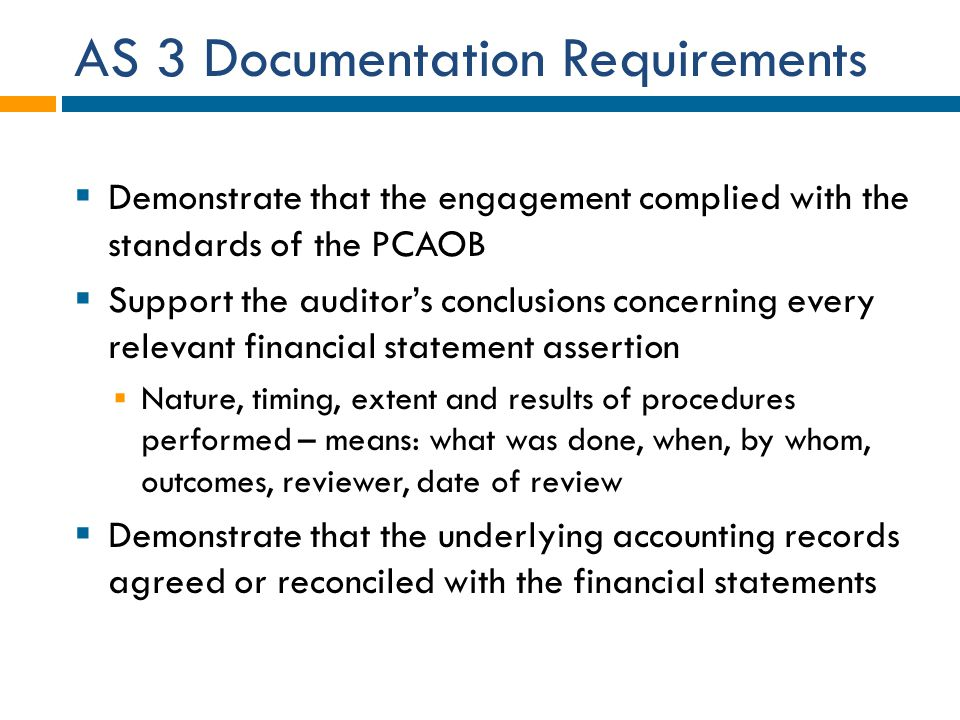 AS 3 Documentation Requirements