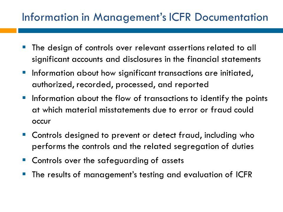 Information in Management's ICFR Documentation