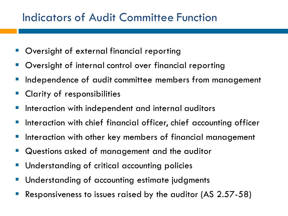 Indicators of Audit Committee Function