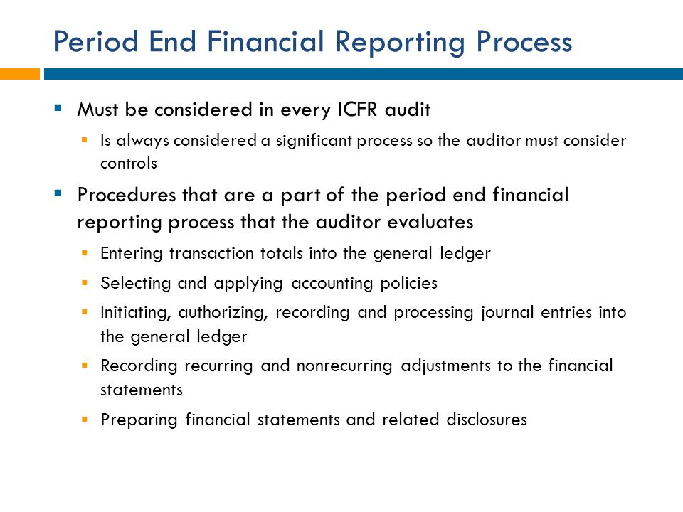 Period End Financial Reporting Process