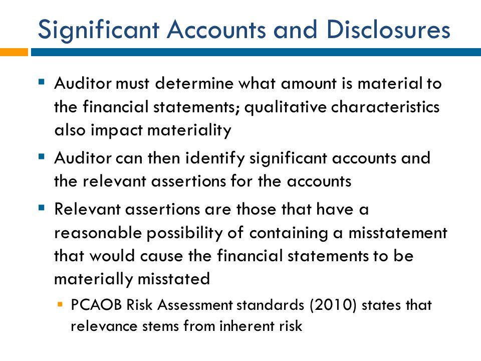 Significant Accounts and Disclosures