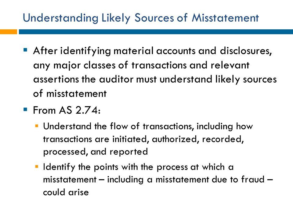 Understanding Likely Sources of Misstatement