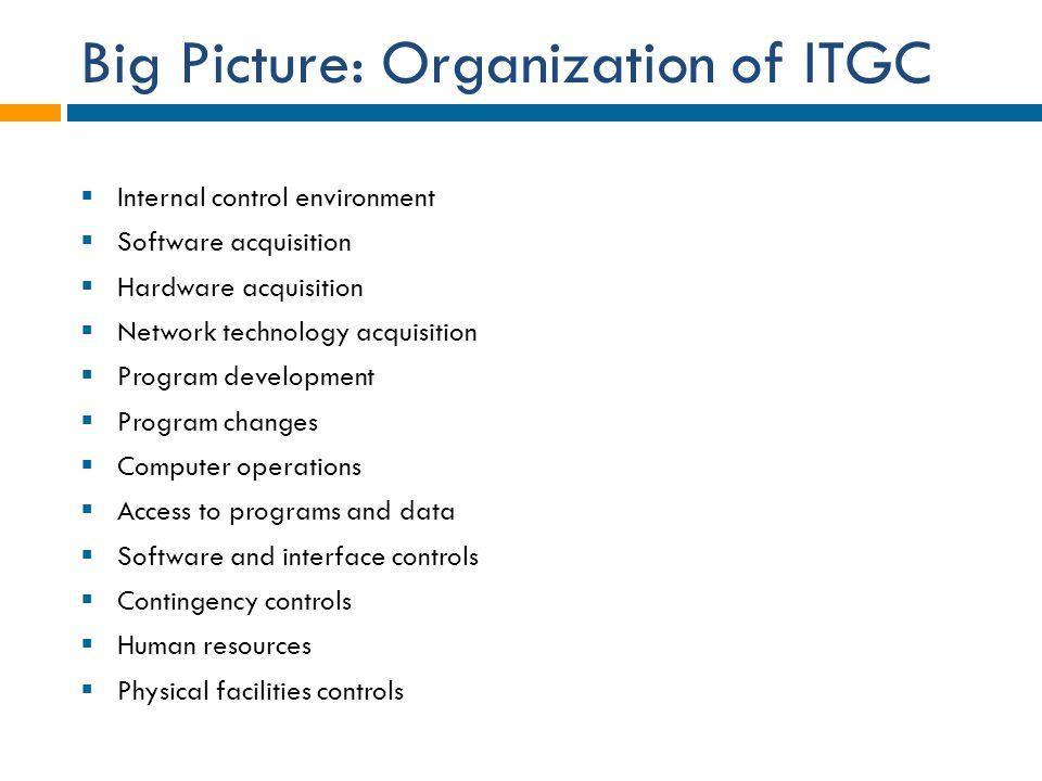 Big Picture: Organization of ITGC