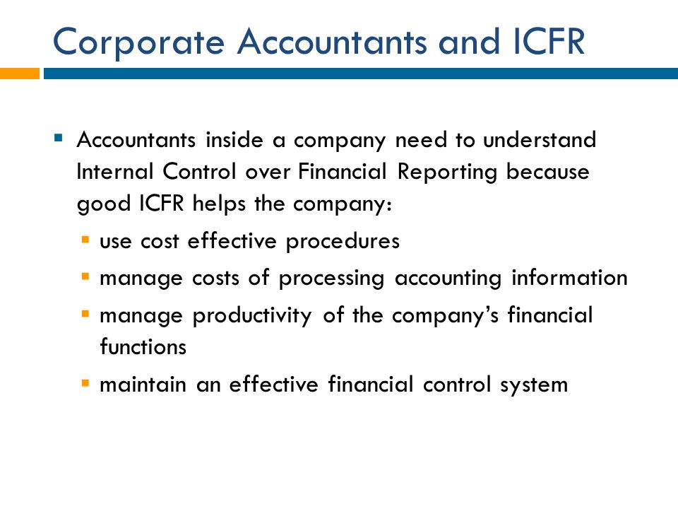 Corporate Accountants and ICFR