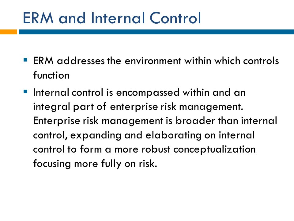 ERM and Internal Control