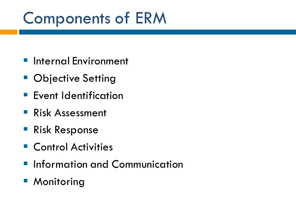 Components of ERM Internal Environment Objective Setting