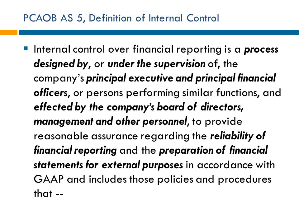 PCAOB AS 5, Definition of Internal Control