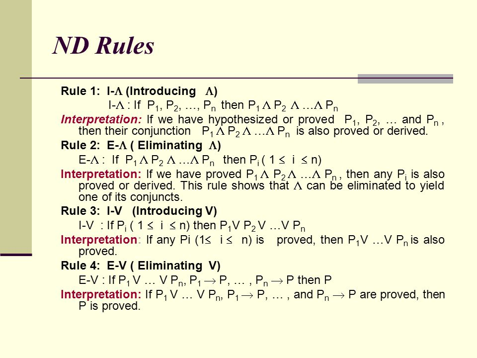 ND Rules Rule 1: I- (Introducing )
