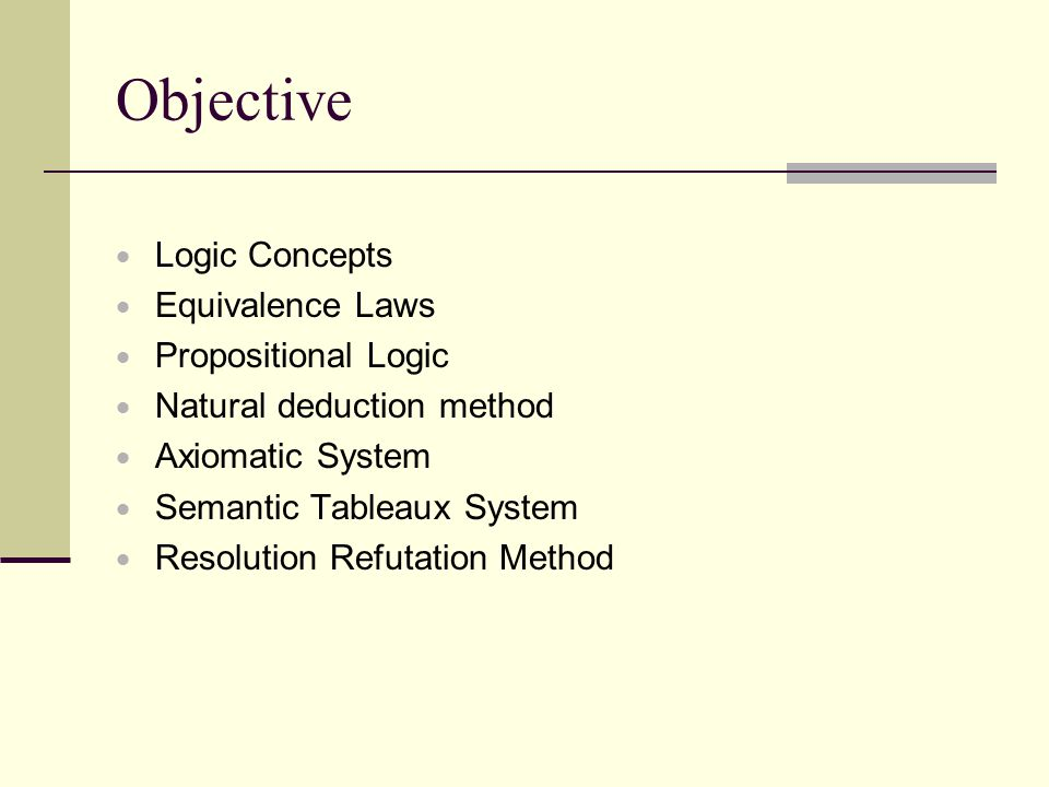 Objective Logic Concepts Equivalence Laws Propositional Logic