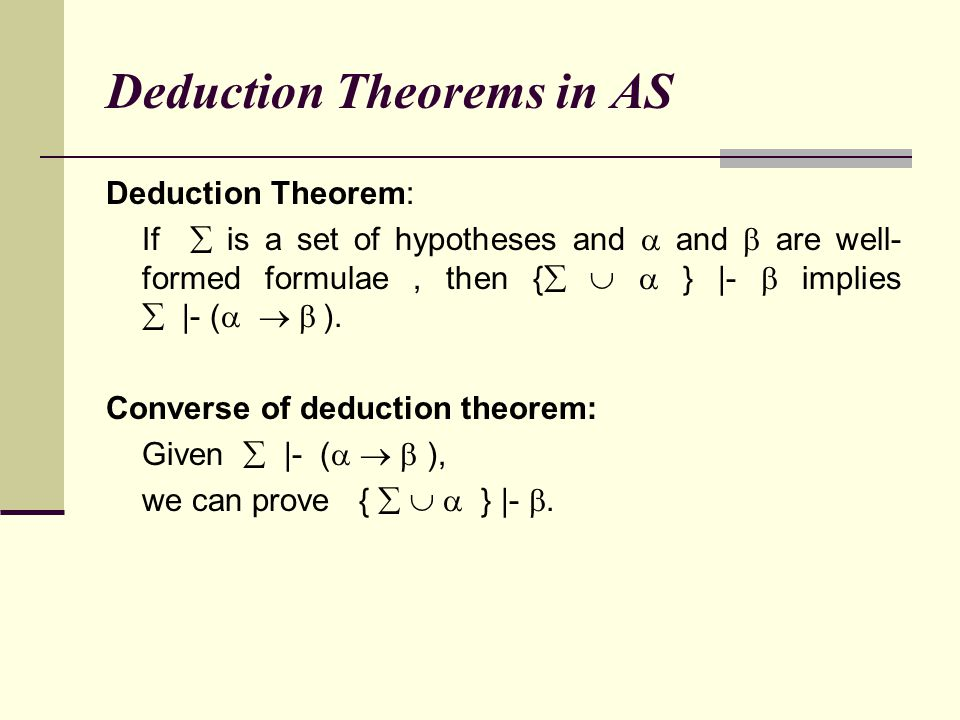 Deduction Theorems in AS