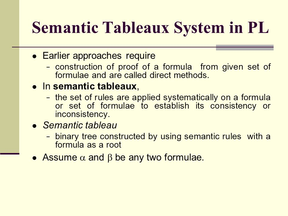 Semantic Tableaux System in PL