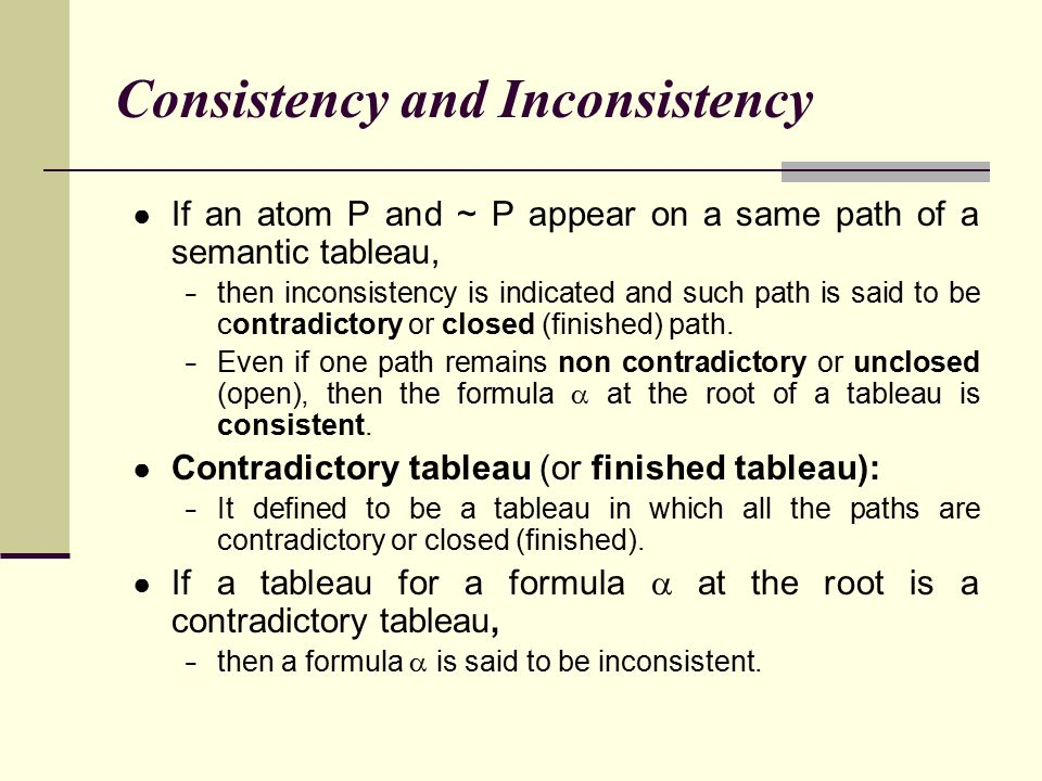 Consistency and Inconsistency