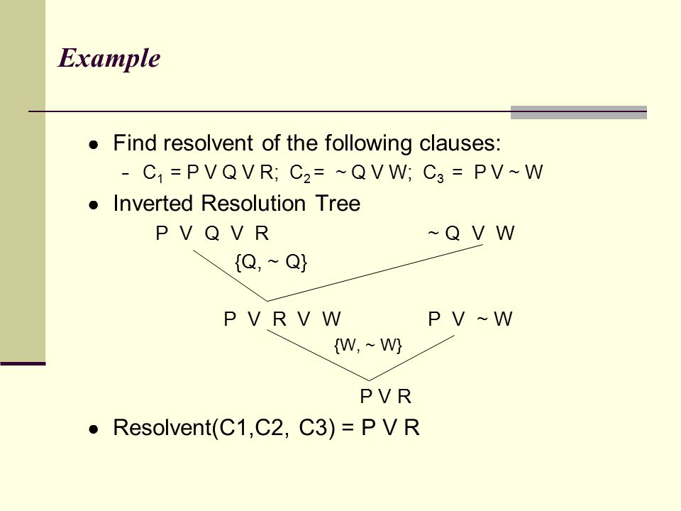 Example Find resolvent of the following clauses: