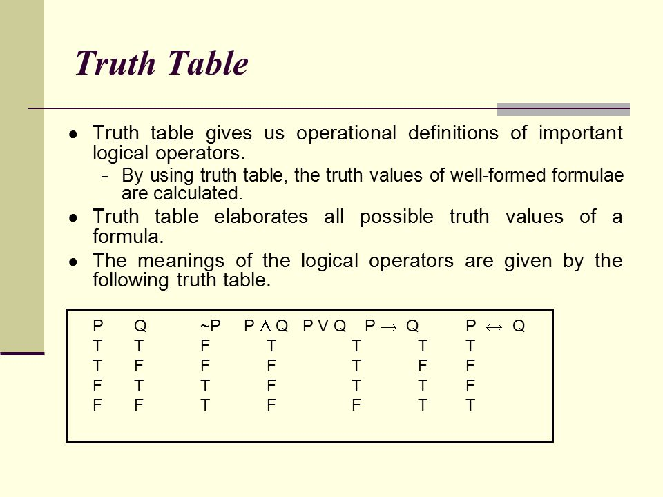Truth Table Truth table gives us operational definitions of important logical operators.