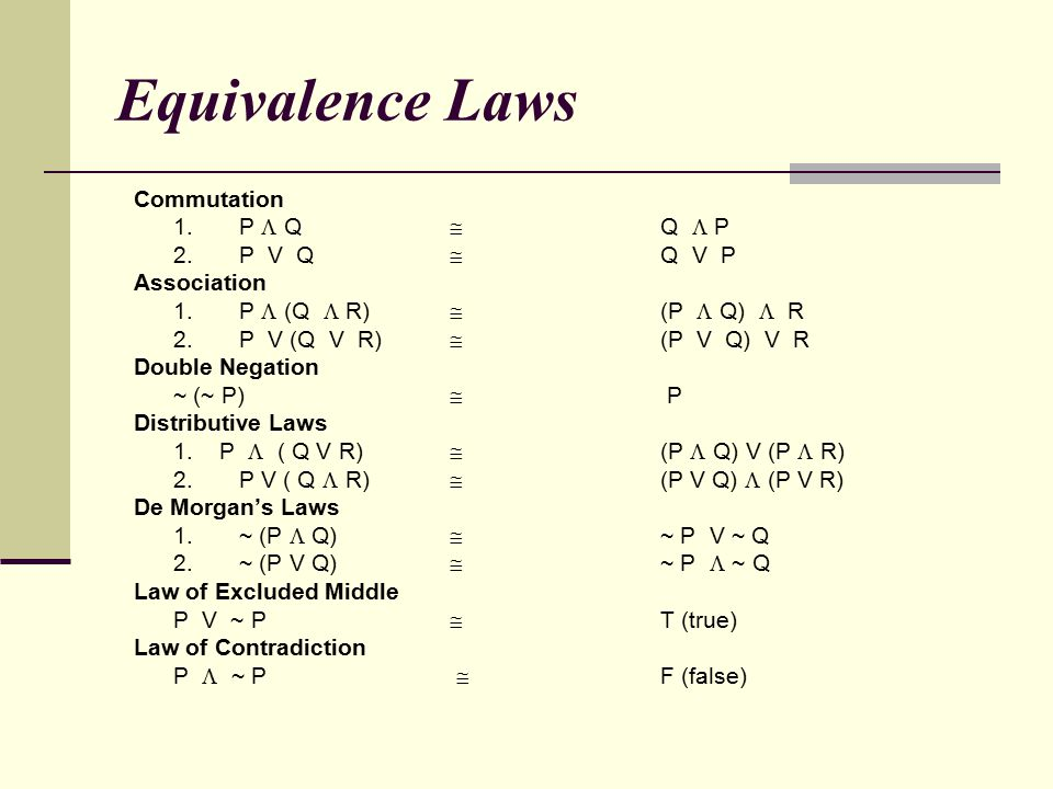 Equivalence Laws Commutation 1. P  Q  Q  P 2. P V Q  Q V P