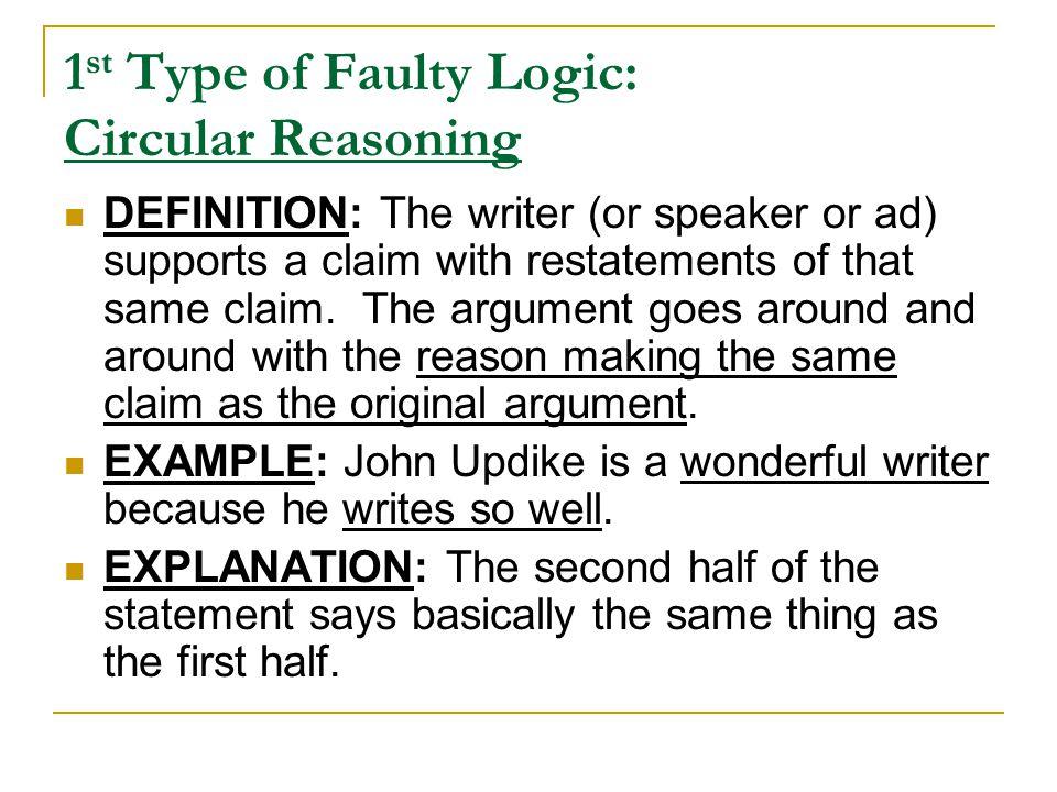 1st Type of Faulty Logic: Circular Reasoning