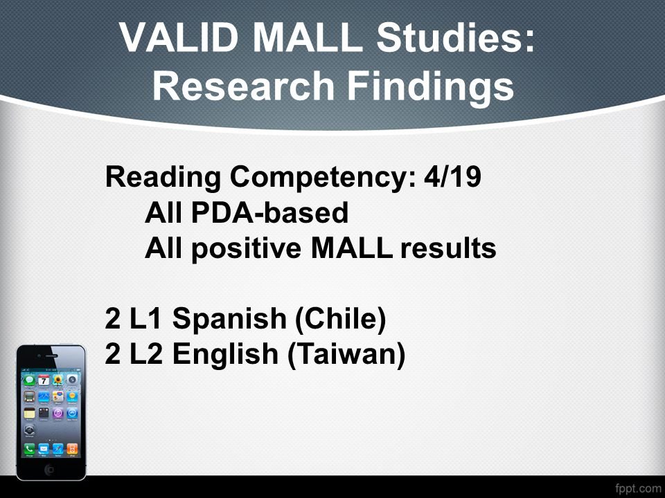 VALID MALL Studies: Research Findings