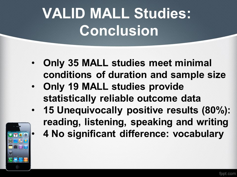 VALID MALL Studies: Conclusion