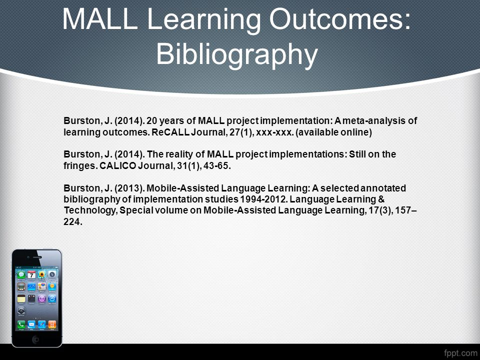 MALL Learning Outcomes: Bibliography