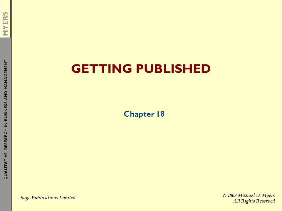 GETTING PUBLISHED Chapter 18