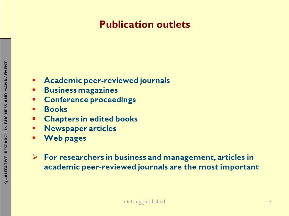 Publication outlets Academic peer-reviewed journals Business magazines
