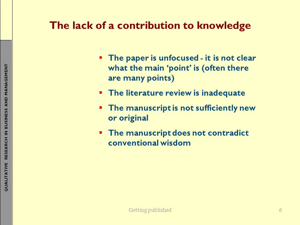 The lack of a contribution to knowledge