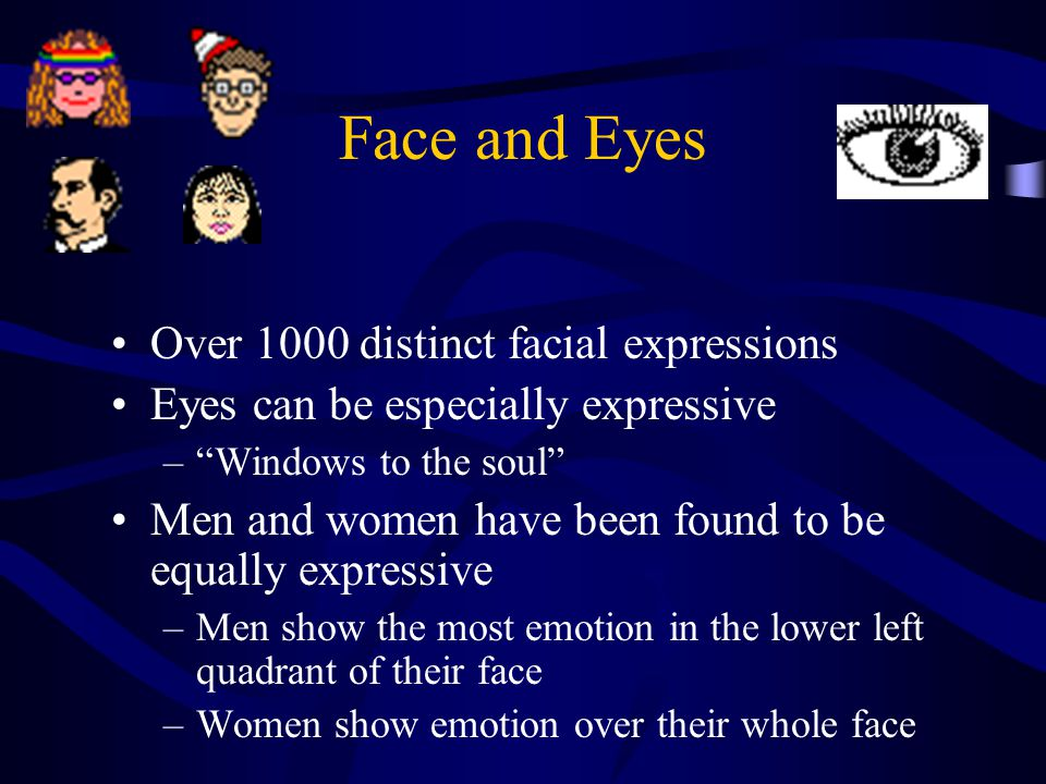 Face and Eyes Over 1000 distinct facial expressions