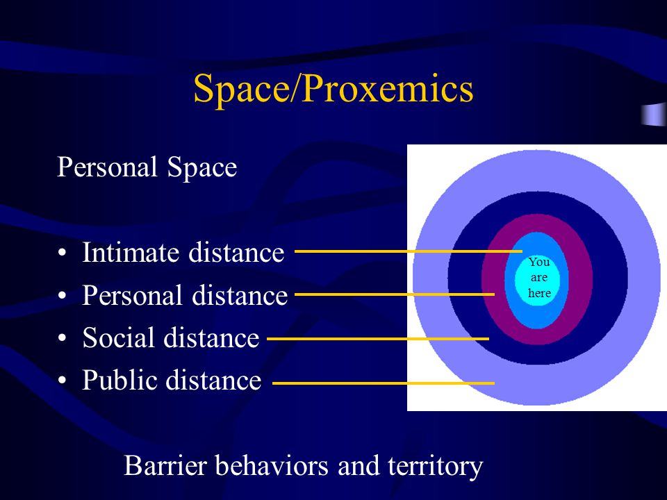 Space/Proxemics Personal Space Intimate distance Personal distance
