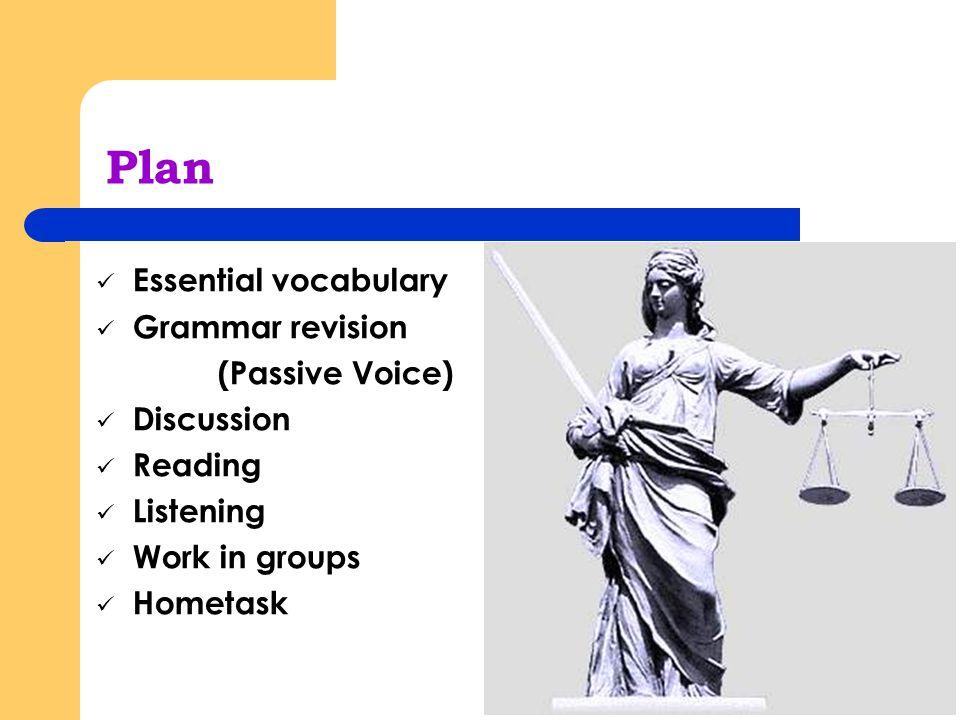 Plan Essential vocabulary Grammar revision (Passive Voice) Discussion