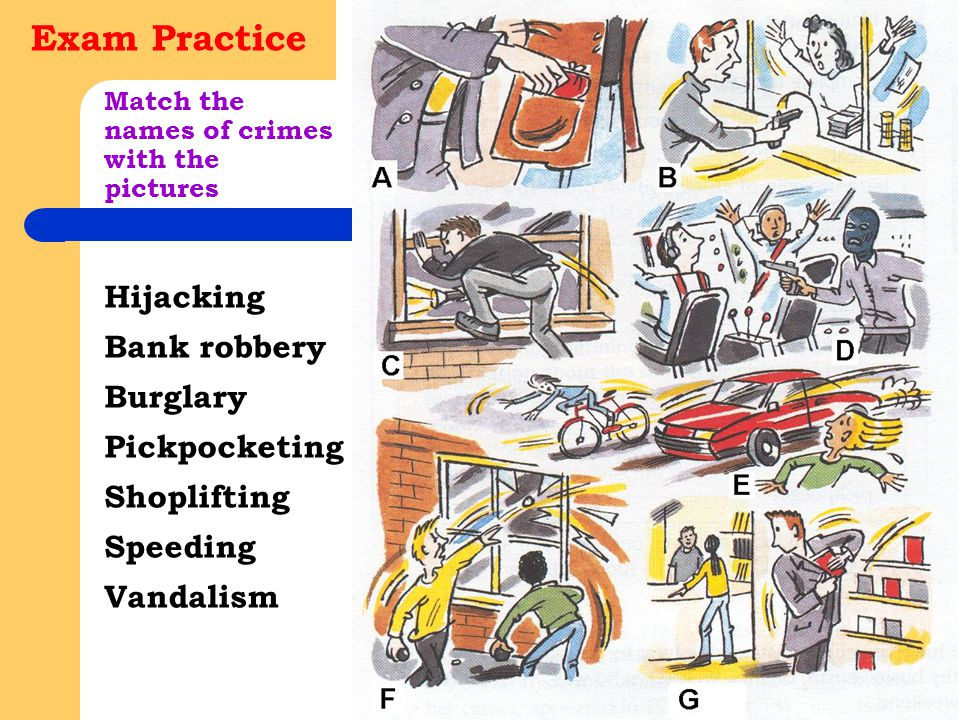 Match the names of crimes with the pictures