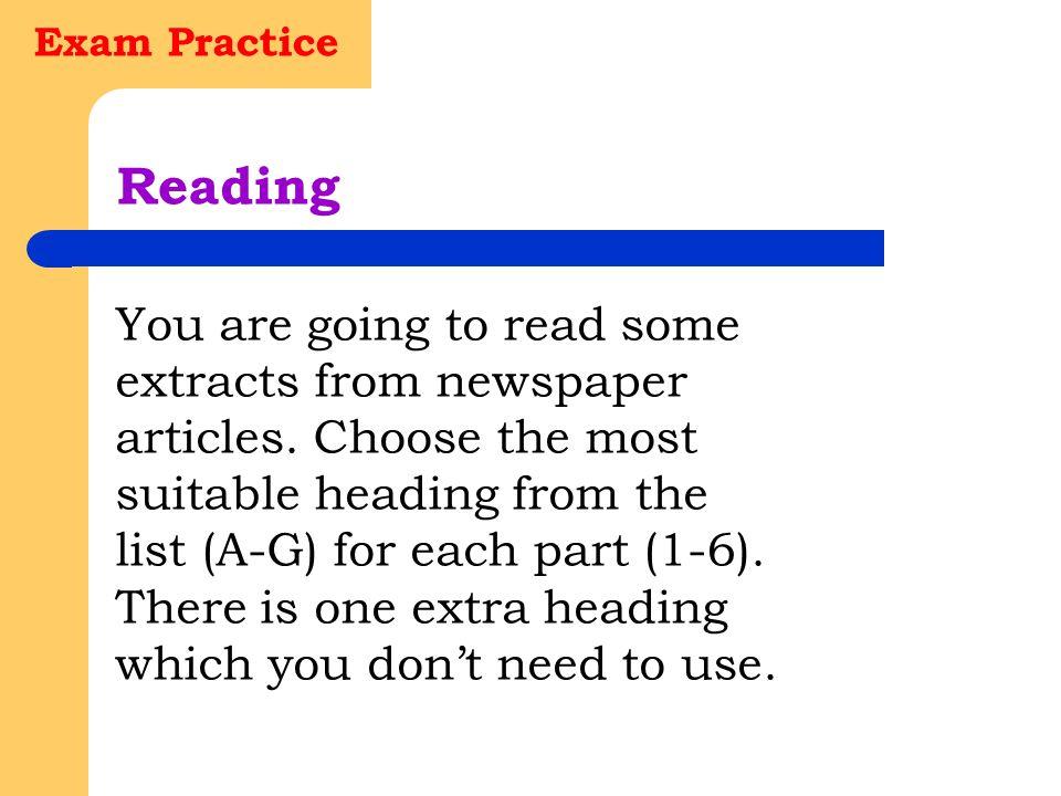 Exam Practice Reading.