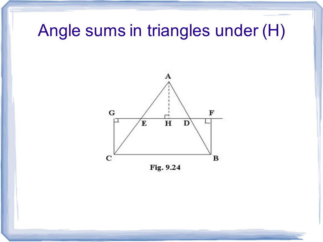 Angle sums in triangles under (H)