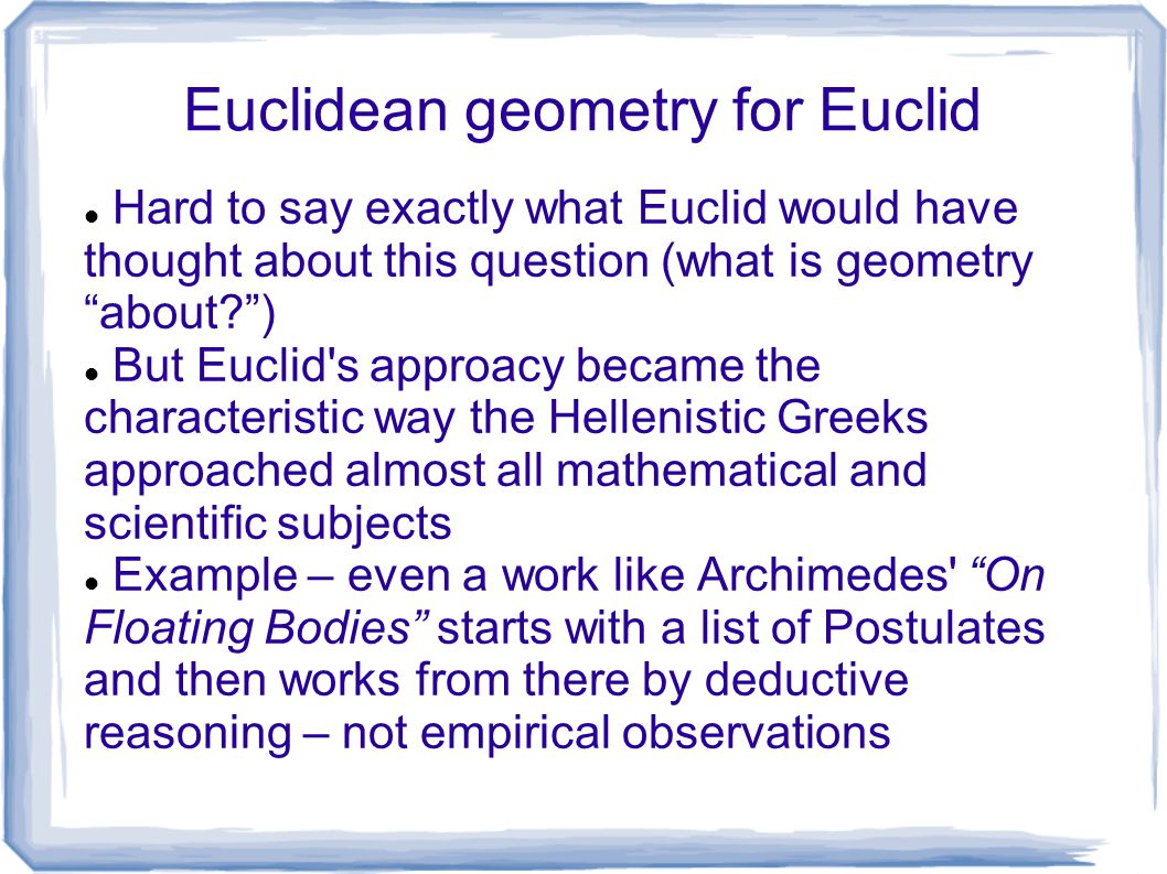 Euclidean geometry for Euclid