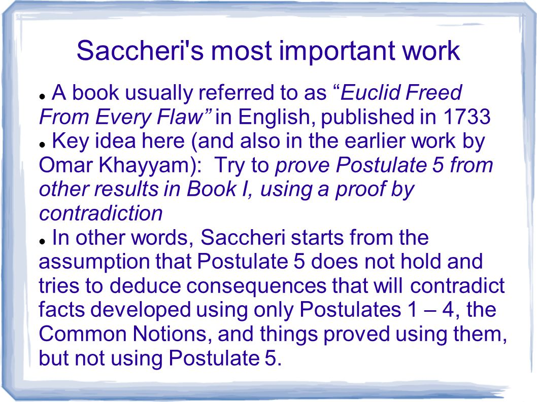 Saccheri s most important work